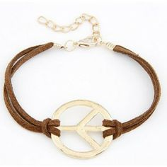 Fashion Bracelet Boutique Leather Simple Peace Sign Gold Bracelets