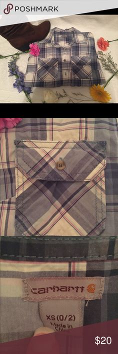 Carhartt Plaid quarter sleeve shirt Blue/purple/white plaid. 97% cotton. 3% spandex. Light fabric good for working out in the yard or riding horses. Only worn once for western dinner. Excellent condition. Carhartt Tops Button Down Shirts
