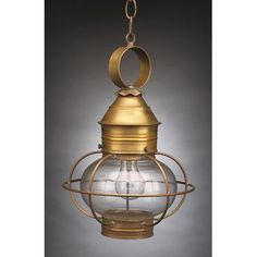 Northeast Lantern Onion 1 Light Outdoor Hanging Lantern Finish: Antique Brass, Shade Type: Clear