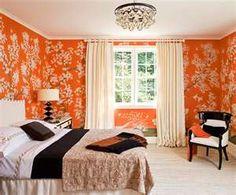 Orange, black & white bedroom