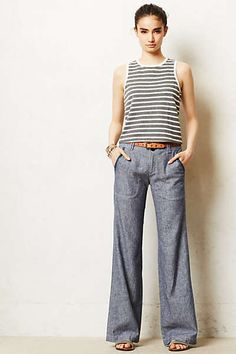 Anthropologie - Pilcro Linen Wide-Leg Pants (paired with a blousy ivory top tucked in)