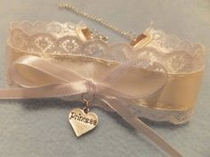 Cream White Lace Bow Cosplay Princess Heart by KittenTreasures, £10.99