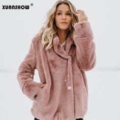 f82af4ad5 Barato XUANSHOW Mulheres Casaco Fashion 2018 Inverno Manter Quente Jaqueta  Feminina Casual Streetwear Bolso Manga Comprida