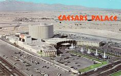 Caesars Palace on the Las Vegas strip - it opened in 1966 -- look at all that open space still around! Caesars Palace was waaay out there on the strip then Old Vegas, Vegas Fun, Vegas Casino, Las Vegas Nevada, Las Vegas Strip, Las Vegas Pictures, Cities, Caesars Palace, Mosques