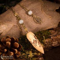 """Pendule de radiesthésie en bois et pierres fines - """"Semeur d'Étoiles"""""""