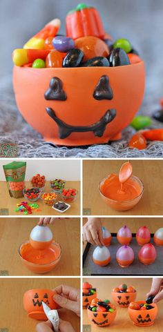 a cute and easy Halloween idea. These adorable pumpkin candy Chocolate cups are entirely edible! Diy Halloween Treats, Fun Halloween Crafts, Easy Halloween, Group Halloween, Halloween Costumes, Adornos Halloween, Halloween Disfraces, Crafts For Teens, Diy For Kids