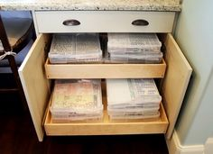 organized cabinets perfect or scrapping paper!