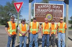 KDOT employees in Kinsley participate in the Go Orange work zone safety campaign. Learn more about work zone safety at www.ksdot.org. Campaign, Safety, Orange, Security Guard
