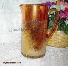 TREE BARK Marigold Carnival Glass Pitcher by Jeannette - Pic 1 of 2 Glass Pitchers, Tree Bark, Vintage Pottery, Carnival Glass, Antique Glass, Marigold, Mugs, Antiques, Gallery
