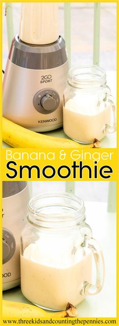 A delicious Banana, Ginger and Yogurt Smoothie.