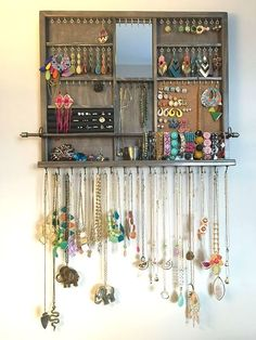 DIY jewelry holder ideas, board, hanging, earrings, dish, travel, wood, wall, modern, drawer, tray, for studs, metal, branch, tree