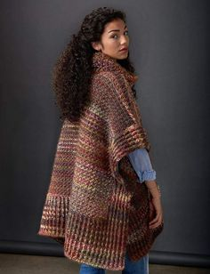 This topper is a must-have fall piece this year - crocheted in Patons Colorwul, this poncho is oversized for a cozy & warm fit. Featured in our Culture Club Fall 2015 Pattern Collection . Ravelry Free Patterns, Crochet Poncho Patterns, Crochet Jacket, Knitted Poncho, Crochet Cardigan, Crochet Shawl, Free Crochet, Knit Crochet, Crochet Sweaters