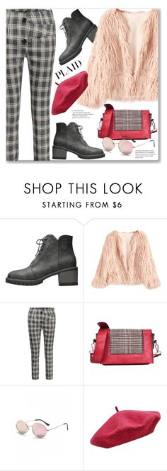 """""""Check It Capri Pants and Faux Fur Coat (Street Style)"""" by jecakns ❤ liked on Polyvore featuring M&Co"""