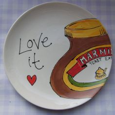 Marmite or Nutella plate by PurpleGlazePotteryUK on Etsy, £24.00