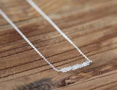 Beaded rock crystal and sterling silver bar necklace by Rosehip Jewelry