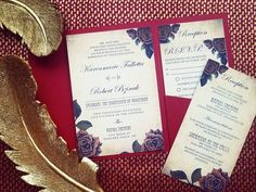 Be Our Guest Wedding Invitations - Hoopla House Wedding Invitations - Red Wedding - Rose Wedding - Antique Wedding - Garden Wedding - Elegant Wedding - Pocket Folder Wedding Invitations #GardenWedding #RoseWedding
