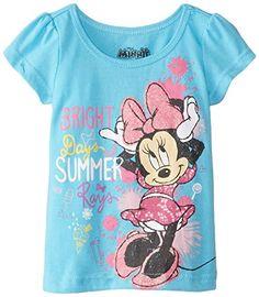 80c36cc64cd Disney Girls  Short-Sleeve Bright Summer Minnie T-Shirt Short-sleeve Minnie  Mouse tee with glitter screenprint