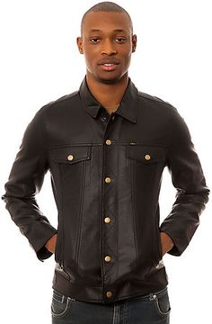 The Backstage Jacket in Black by Obey This faux-leather buttondown jacket features dual hand pockets, dual chest pockets with snap button closures, and button adjustments on the bottom hem. $119