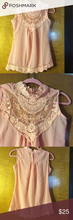 Blouse  BNWOT, gorgeous sheer top, full lace on the top & all around the seam, color is a blush peach, pink. Just beautiful!!! Tops Blouses