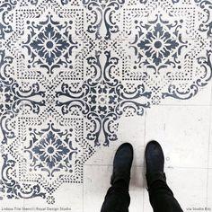 Stenciled Floor Patterns on Linoleum - Lisboa Tile Stencils - Royal Design Studio