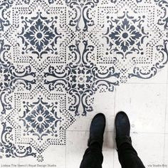 Stenciled Floor Patterns on Linoleum - Lisboa Tile Stencils - Royal Design Studio