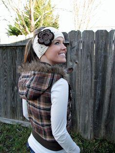 Vanilla Bean Headband/Headwrap/Earwarmers With by HillNTrees, $16.00