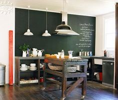 Retro Chic Kitchen  Use chalkboard-paint, pendant lights and open shelves to add historic schoolhouse charm.