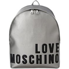 Love Moschino Rucksack (3,970 MXN) ❤ liked on Polyvore featuring bags, backpacks, grey, grey backpack, knapsack bag, logo backpacks, gray backpack and love moschino