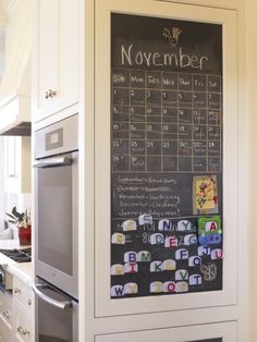Magnetic chalkboard--find a use for an otherwise functionless surface! (traditional kitchen by Gast Architects) Magnetic Chalkboard Paint, Chalkboard Calendar, Kitchen Chalkboard, Chalkboard Ideas, Paint Calendar, Blackboard Paint, Framed Chalkboard, Magnetic Calendar, Chore Calendar