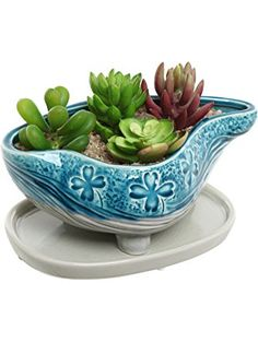 Turquoise & Gray Abstract Design Ceramic Succulent Plant Flower Planter Pot w/ Removable Saucer - MyGift® ❤ MyGift