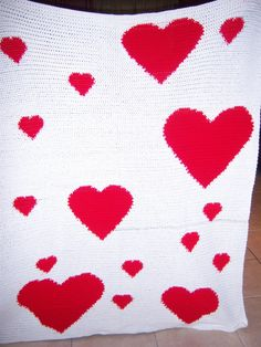 Crocheted Scattered Heart Blanket by TwoLoopyHookers on Etsy, $50.00