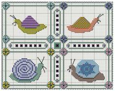 Cross stitch snails