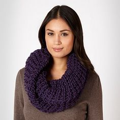 Purple Twisted Chunky Knit Snood - Knitted scarves - Scarves - Women -