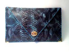 Handmade blue leather clutch / snake imitation by AnaKoutsi, $60.00