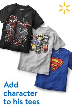 Send him back to school with his fave friends. Discover a huge selection of affordable character tees, including Spiderman, Pokemon, Teenage Mutant Ninja Turtles, Star Wars and more. Find everything you need for back to school at Walmart.