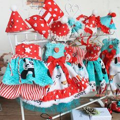 MADE TO ORDER -Blythe circus outfit dress for Blythe + headband with bow red turquoise dress with dachshund custom blythe doll blythe circus #dollclothes #forblythe #dressforblythe #clothesforblythe #blythedress