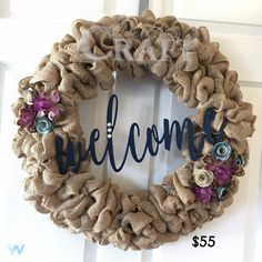 "Handcrafted custom made to order burlap wreath. Wreath is constructed on an 18"" wire frame and 20-25 yards of burlap ribbon for lots of fullness. Ribbon, fabric/paper rosettes and false florals includ"