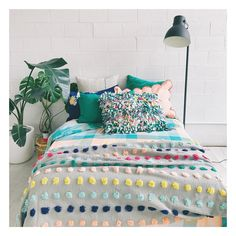 Some colour, texture and interest Caravan Ideas, Bedroom Inspo, Kid Spaces, My Room, Sage, My House, Comforters, Sweet Home, Cushions