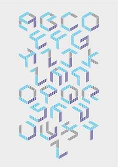 Typeface created by Bas Masbeck, www.aboutdesign.nl. All letters are made by putting lines on a side of a cube.
