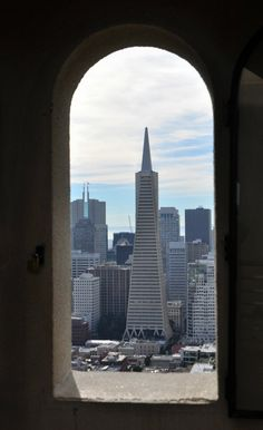 Looking out the window of the Coit Tower at the TransAmerica Tower in San Francisco.
