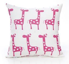 The Glenna Jean pink giraffe pillow is whimsical and fun. #decor #pillow