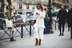 How French Girls Do Street Style For Fashion Week  #refinery29  http://www.refinery29.com/2016/03/105661/paris-fashion-week-fall-winter-2016-street-style-pictures#slide-36  For chillier days, layer an off-the-shoulder top over a classic button-up shirt....