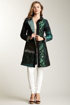 Desigual Colette Embroidered Jacquard Coat
