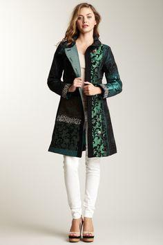 Desigual Colette Embroidered Jacquard Coat