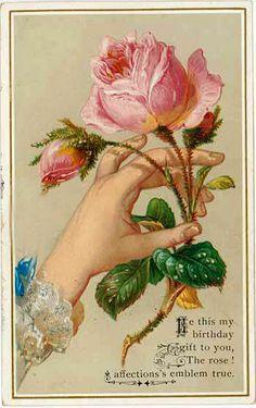 victorian - I adore roses! Decoupage Vintage, Vintage Paper, Vintage Birthday Cards, Vintage Greeting Cards, Card Birthday, Happy Birthday, Images Vintage, Vintage Pictures, Vintage Labels