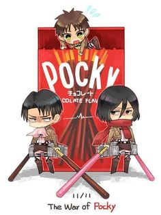 Anime- attack on titan Levi, erin, and mikasa~