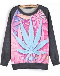 Dark Grey Long Sleeve Maple Leaves Print Sweatshirt - Sheinside.com