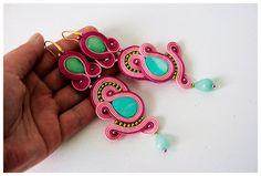 Pink Soutache Earrings kolczyki sutasz by SoutacheJewelleryAM