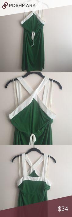 Anthropologie dress Anthropologie green/white cotton dress, cross front straps, tie waist, lightweight for summer, never worn! Anthropologie Dresses
