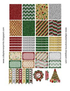 Free Glitter Christmas Printable Planner Stickers.
